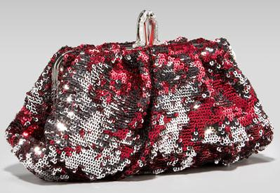 Christian Louboutin sequined clutch red