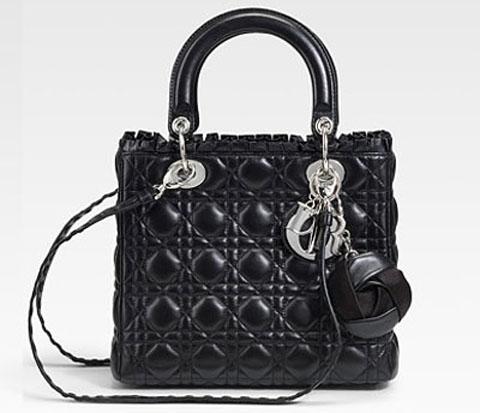 Lady Dior Cannage Rose charm black