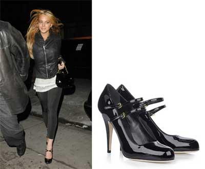 Mary Jane Miu Miu nere ai piedi di Lindsay Lohan