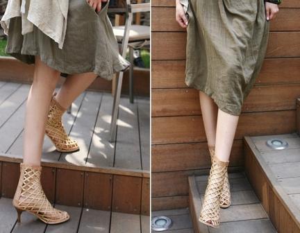Net ankle boot beige