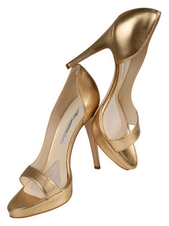 Sandali Brian Atwood in pelle color oro