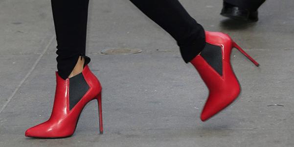 Saint Laurent red booties