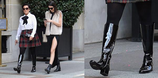 Kris Jenner Saint Laurent stivali vernice