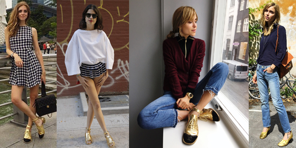 trend scarpe oro fashion blogger