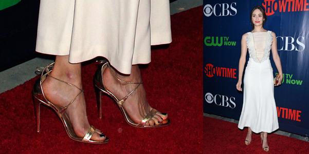 Emmy Rossum sandali oro Aquazzura