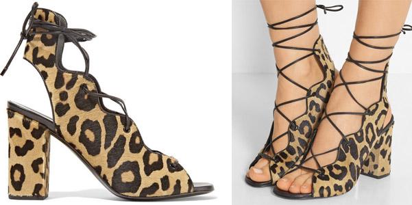 sandali stringati leopardo saint laurent