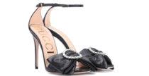 Sandali con fiocco e cristalli di Gucci