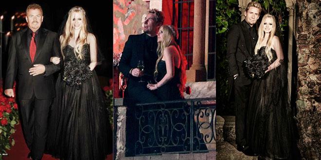 Avril Lavigne abito da sposa nero