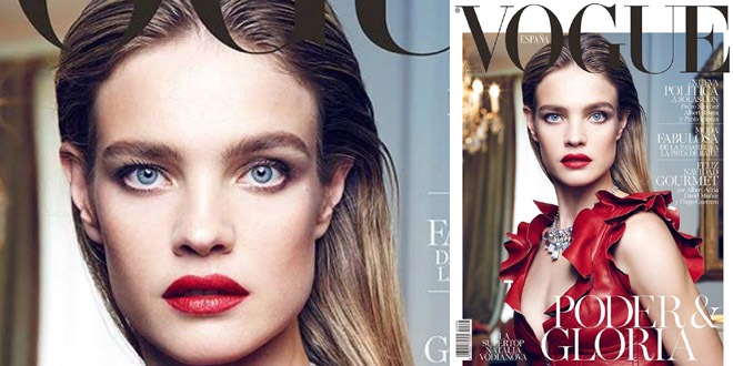Natalia Vodianova in Louis Vuitton su Vogue Spagna