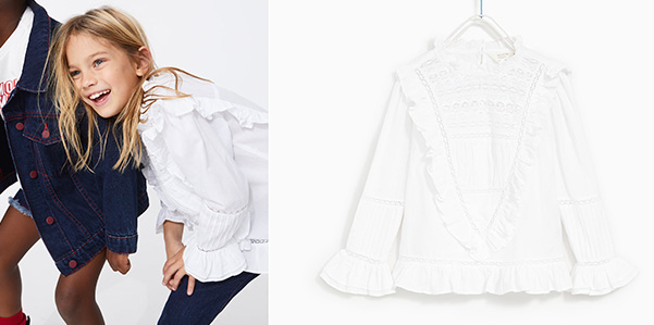 Merletti e volant sulla camicetta femminile di Zara