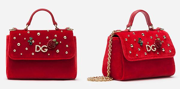 Velluto e cristalli per la borsa di Dolce e Gabbana