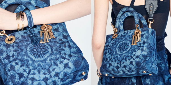 Lady Dior Kaleidoscopic in jeans tie and dye