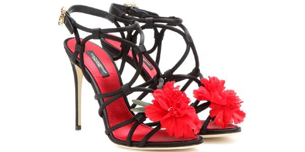 Sandali Dolce e Gabbana in satin e fiore rosso 361541c6932