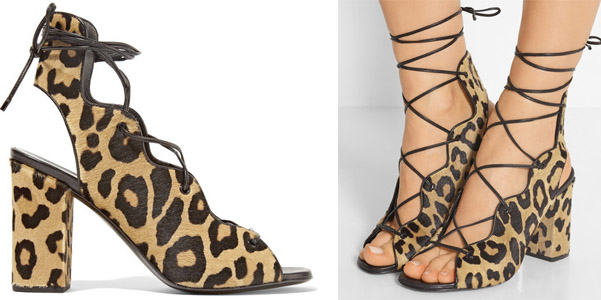 sandali stringati leopardo saint laurent