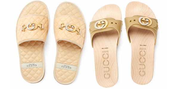 c6c3e05b48 Le slides di Gucci con logo d'argento e d'oro