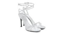 Sandali Upflair di Valentino in pelle argento e micro-cristalli