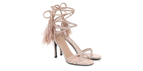 Sandali Upflair di Valentino con piume e cristalli