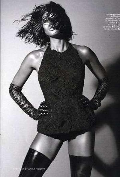 Nami Campbell nel servizio interno di Vogue Russia