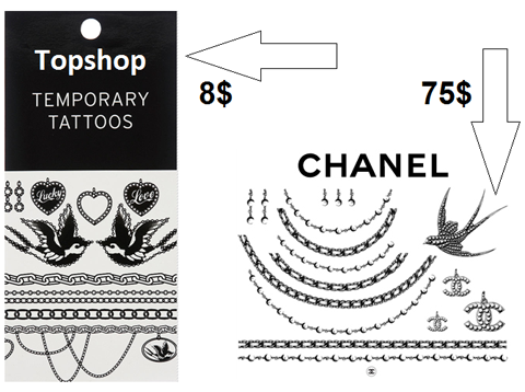 Chanel Topshop temporary tattoo
