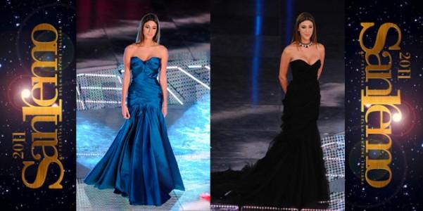 Belen Rodriguez in Alberta Ferretti a Sanremo