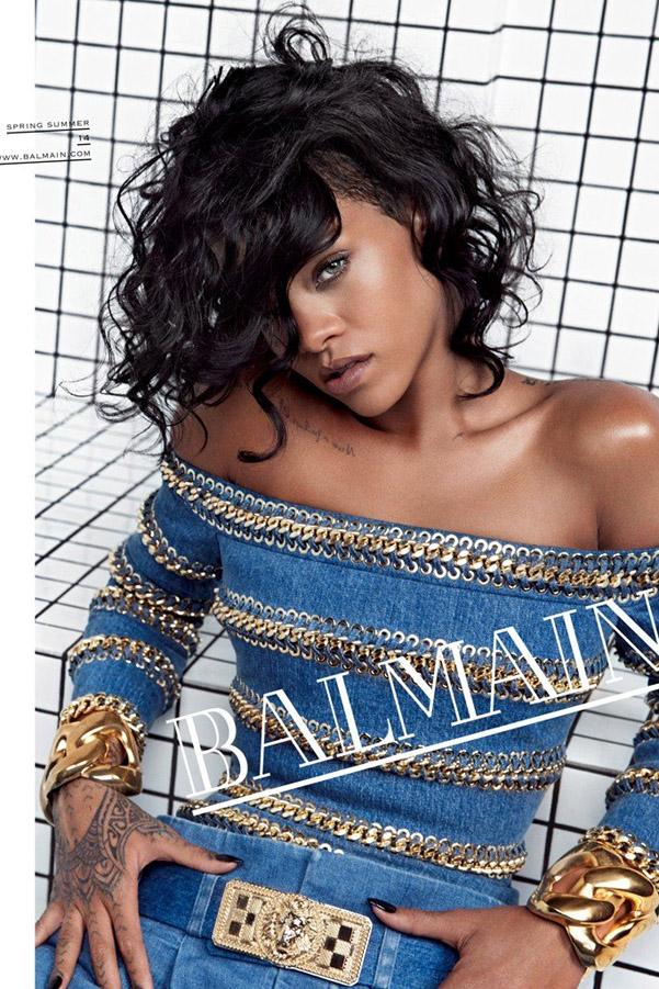 Rihanna Balmain ad pe 2014